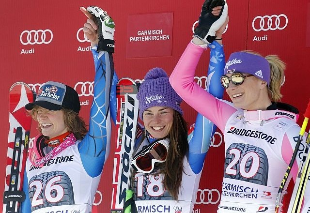 Laureene Ross, Tina Maze in Maria Höfl Riesch (foto: Reuters)