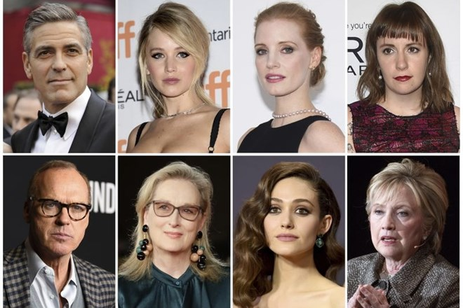 George Clooney, Jennifer Lawrence, Jessica Chastain, Lena Dunham, Michael Keaton, Meryl Streep, Emmy Rossum in Hillary...