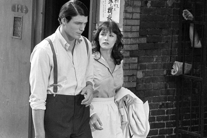 Christopher Reeve in Margot Kidder na fotografiji iz leta 1977