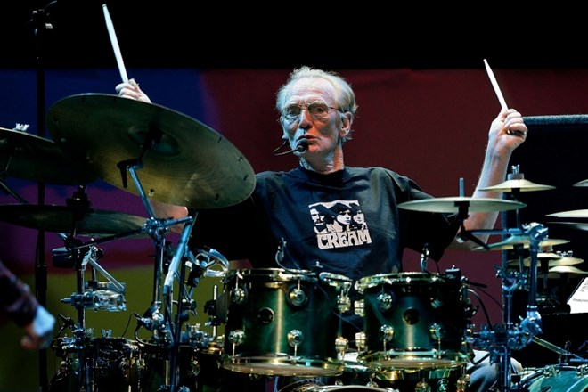 FILE PHOTO: Drummer Ginger Baker of the Legendary supergroup Cream performs during a concert at the Royal Albert Hall in...