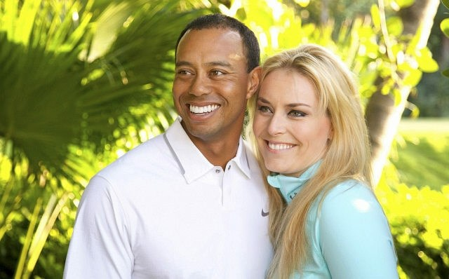 Lindsay Vonn in Tiger Woods.