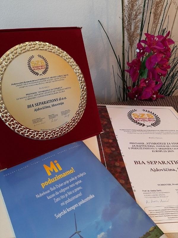 Gazela BIA Separations prejela mednarodno priznanje ustvarjalci za stoletja