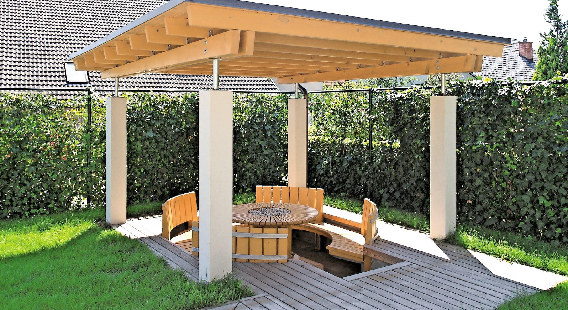 Lesena zunanja preobrazba: vkopani paviljon - povezovalna harmonija
