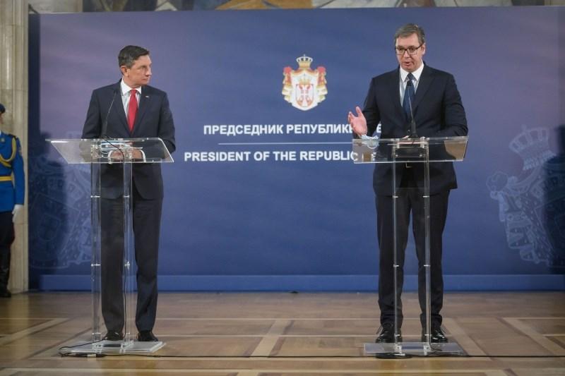 Pahor in Vučić tudi o nespremenljivosti meja na Balkanu